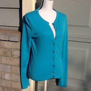 Lilly Pulitizer turquoise cotton cardigan Sz S